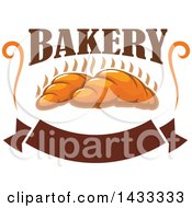 Clipart Of A Design Of Hot Croissants With Bakery Text And A Blank Banner Royalty Free Vector Illustration by Vector Tradition SM