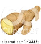 Clipart Of A Piece Of Ginger Root Royalty Free Vector Illustration by Vector Tradition SM