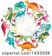 Clipart Of A Blank Semi Transparent Label Frame Over A Circle Of Dinosaurs Royalty Free Vector Illustration