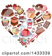 Clipart Of A Heart Formed Of Desserts Royalty Free Vector Illustration