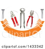 Clipart Of A Pair Of Nippers Pliers Tongs And Metal Bolt Screws Over A Banner Royalty Free Vector Illustration
