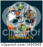 Clipart Of Halloween Icons Over Text On Dark Blue Royalty Free Vector Illustration by Vector Tradition SM