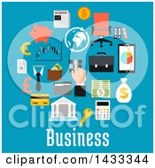 Clipart Of Flat Style Business Icons And Text On Blue Royalty Free Vector Illustration by Vector Tradition SM