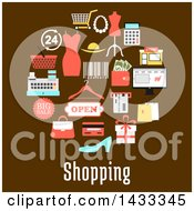 Clipart Of A Circle Of Flat Styld Retail Icons Over Shopping Text On Brown Royalty Free Vector Illustration