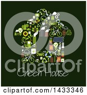 Home Formed Of Flat Style Eco Icons With Text On Dark Green