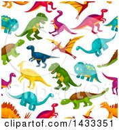 Clipart Of A Seamless Pattern Background Of Dinosaurs Royalty Free Vector Illustration