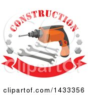 Power Drill With Wrenches Bolts And Text Over A Banner