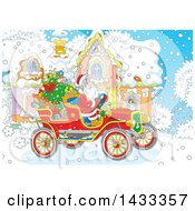 Clipart Of A Christmas Scene Of Santa Claus Driving An Antique Car In Front Of A House Royalty Free Vector Illustration