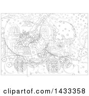 Black And White Lineart Christmas Scene Of Santa Claus Driving An Antique Car In Front Of A House