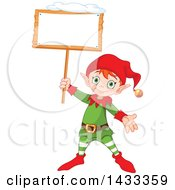 Clipart Of A Happy Christmas Elf Holding Up A Blank Sign Royalty Free Vector Illustration by Pushkin