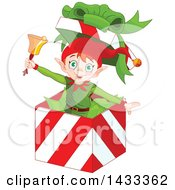 Clipart Of A Happy Christmas Elf Ringing A Bell And Popping Out Of A Gift Box Royalty Free Vector Illustration by Pushkin