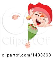 Clipart Of A Happy Christmas Elf Laughing Around A Blank Sign Royalty Free Vector Illustration by Pushkin