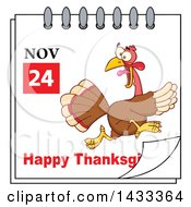 November 24 Happy Thanksgiving Calendar Page With A Running Turkey