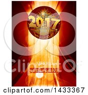 Merry Christmas Greeting Under A 3d 2017 New Year Disco Ball Over Stripes And Flares