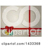 Merry Christmas And Happy New Year Greeting With Red Gift Ribbons Baubles And Bow Over Flares