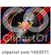 3d Music Vinyl Record Album With 2017 Over Diagonal Stripes