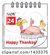 November 24 Happy Thanksgiving Calendar Page With A Naked Turkey Giving A Thumb Up And Laying In A Roasting Pan