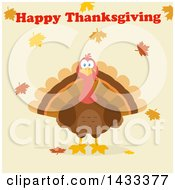Flat Design Styled Turkey Bird With Happy Thanksgiving Text And Autumn Leaves