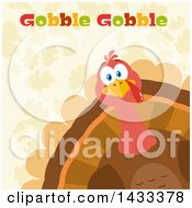 Clipart Of A Flat Design Styled Turkey Bird With Gobble Gobble Text Peeking From A Corner Over Leaves Royalty Free Vector Illustration