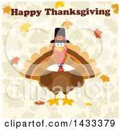 Flat Design Styled Pilgrim Turkey Bird With Happy Thanksgiving Text Over Leaves