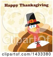 Clipart Of A Flat Design Styled Pilgrim Turkey Bird With Happy Thanksgiving Text Peeking From A Corner Over Leaves Royalty Free Vector Illustration