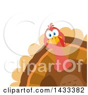 Clipart Of A Flat Design Styled Turkey Bird Peeking From A Corner Royalty Free Vector Illustration by Hit Toon