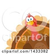 Flat Design Styled Turkey Bird Peeking From A Corner