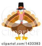 Clipart Of A Flat Design Styled Pilgrim Turkey Bird Royalty Free Vector Illustration by Hit Toon