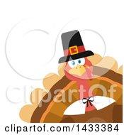Flat Design Styled Pilgrim Turkey Bird Peeking From A Corner