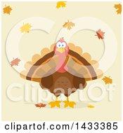 Flat Design Styled Turkey Bird With Autumn Leaves