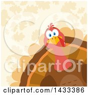 Clipart Of A Flat Design Styled Turkey Bird Peeking From A Corner Over Leaves Royalty Free Vector Illustration