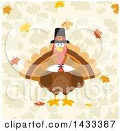 Flat Design Styled Pilgrim Turkey Bird Over Leaves