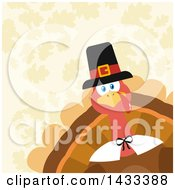 Clipart Of A Flat Design Styled Pilgrim Turkey Bird Peeking From A Corner Over Leaves Royalty Free Vector Illustration