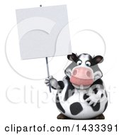 Clipart Of A 3d Chubby Cow Holding A Blank Sign On A White Background Royalty Free Illustration