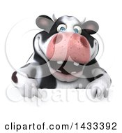 Clipart Of A 3d Chubby Cow Over A Sign On A White Background Royalty Free Illustration