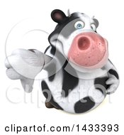 Clipart Of A 3d Chubby Cow Holding Up A Thumb Down On A White Background Royalty Free Illustration