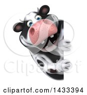 Clipart Of A 3d Chubby Cow Looking Around A Sign On A White Background Royalty Free Illustration