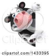 Clipart Of A 3d Chubby Cow Pointing Around A Sign On A White Background Royalty Free Illustration