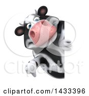 Clipart Of A 3d Chubby Cow Giving A Thumb Down Around A Sign On A White Background Royalty Free Illustration