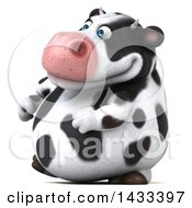 Clipart Of A 3d Chubby Cow Walking On A White Background Royalty Free Illustration