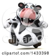 Clipart Of A 3d Chubby Cow Running On A White Background Royalty Free Illustration