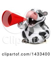 Clipart Of A 3d Chubby Cow Using A Megaphone On A White Background Royalty Free Illustration