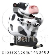 Clipart Of A 3d Chubby Cow Exercising On A Spin Bike On A White Background Royalty Free Illustration