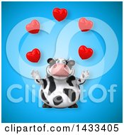 Clipart Of A 3d Chubby Cow Juggling Hearts Royalty Free Illustration