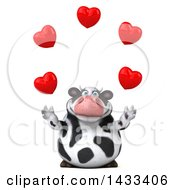 Clipart Of A 3d Chubby Cow Juggling Hearts On A White Background Royalty Free Illustration