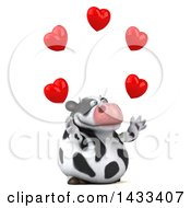 Poster, Art Print Of 3d Chubby Cow Juggling Hearts On A White Background