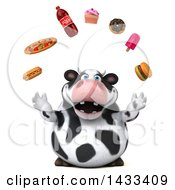 Clipart Of A 3d Chubby Cow Juggling Junk Food On A White Background Royalty Free Illustration