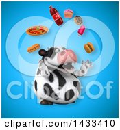 Clipart Of A 3d Chubby Cow Juggling Junk Food Royalty Free Illustration