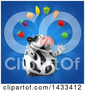 Clipart Of A 3d Chubby Cow Juggling Produce Royalty Free Illustration