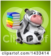 Clipart Of A 3d Chubby Cow Holding Books Royalty Free Illustration
